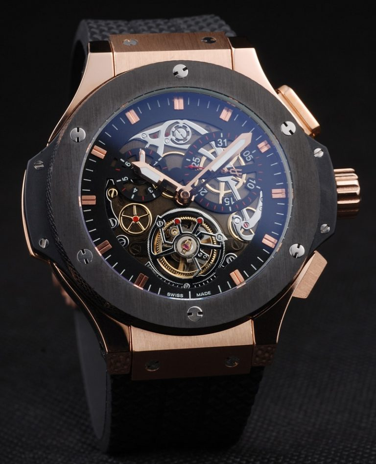 Hublot-King-Power-Tourbillon-Black-Strap-Gold-Dial-Front-View