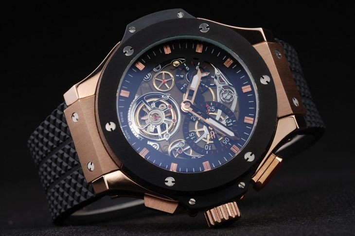 Hublot-King-Power-Tourbillon-Black-Strap-Gold-Dial-Side-View