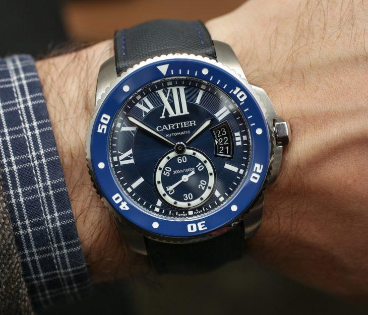 Cartier Calibre De Cartier Watches Women Replica Diver Blue Watch Hands-On Hands-On